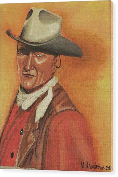 John Wayne Wood Print by Victoria Rhodehouse