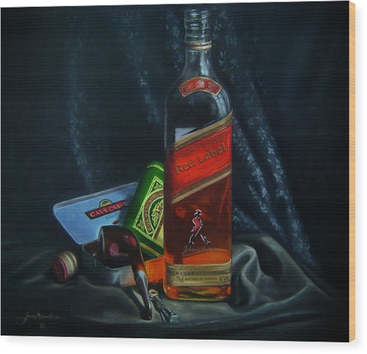 Johnnie Walker  Wood Print by Epifanio jr Mendoza
