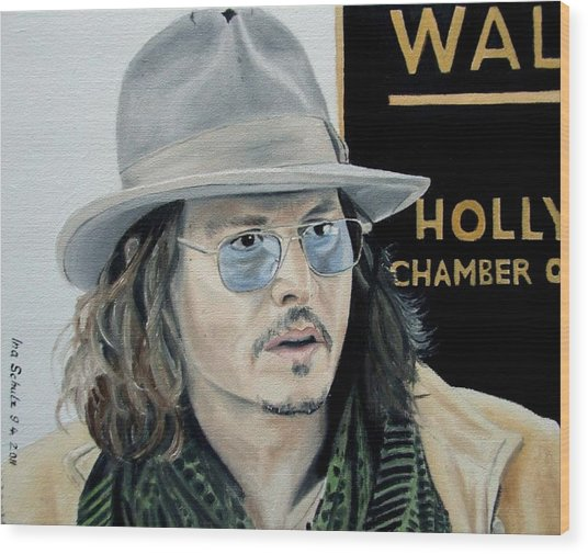 Johnny Depp - April 1st 2011 Wood Print by Ina Schulz 630708646bf8