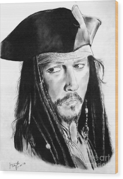 Johnny Depp As Captain Jack Sparrow In Pirates Of The Caribbean Wood Print