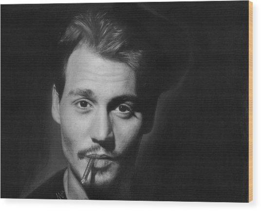 Johnny Depp Wood Print by Nat Morley