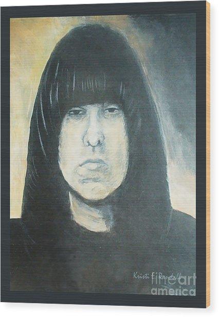 Johnny Ramone The Ramones Portrait Wood Print by Kristi L Randall