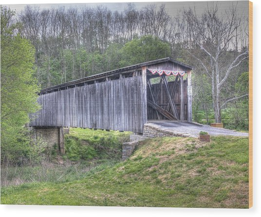 Johnson Creek Covered Bridge Wood Print