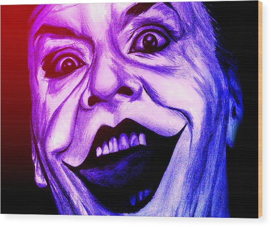 Joker Neon Wood Print by Michael Mestas
