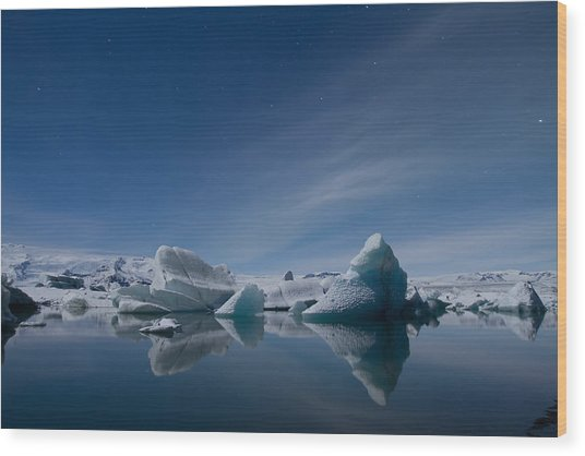 Jokulsarlon At Night Wood Print