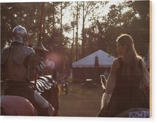 Joust One Knight Wood Print by Sean Green