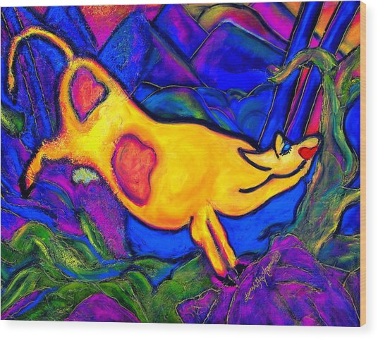 Joyful Yellow Cow Wood Print