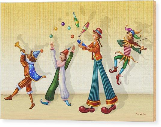 Juggling Company Wood Print