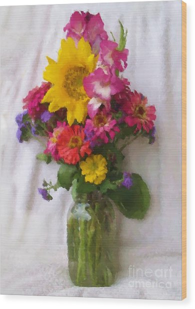 July Bouquet Wood Print