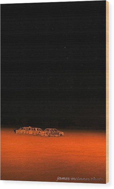 Junk Yard On Mars Wood Print by James Mcinnes
