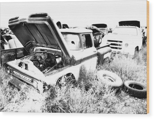 Junkyard Infrared 2 Wood Print by Matthew Angelo