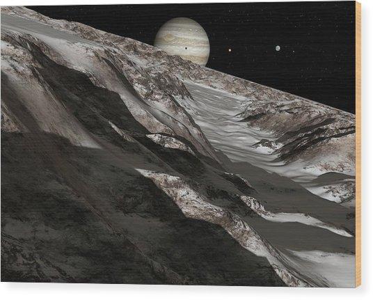Jupiter From Ganymede, Artwork Wood Print by Detlev Van Ravenswaay