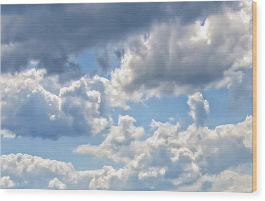 Just Clouds Wood Print by Laura Corebello