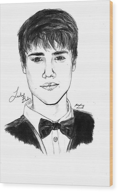 Justin Bieber Suit Drawing Wood Print by Kenal Louis