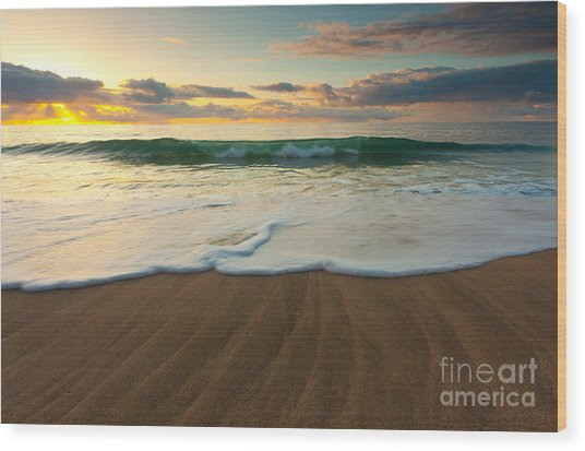 Kalalau Beach Sunset Wood Print by Buck Forester