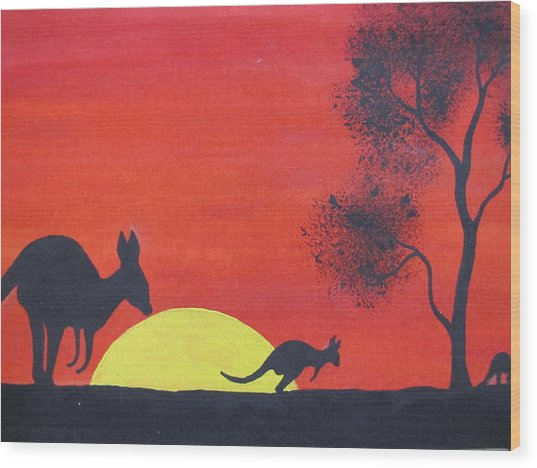 Kangaroo Sunset  Wood Print by Courtney Adams