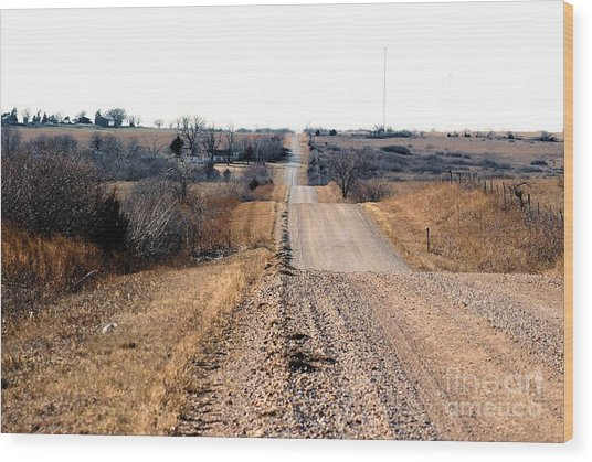 Kansas Gravel Road Wood Print