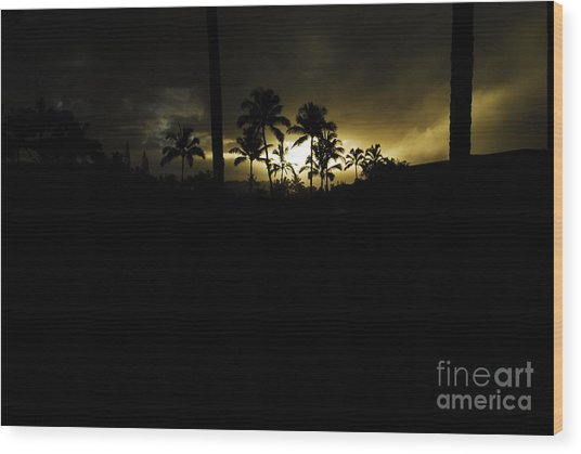 Kauai Storm Sunset Wood Print