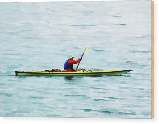 Kayak Out On The Bay Wood Print