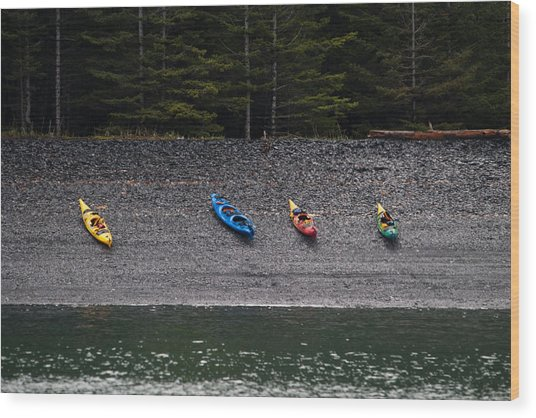 Kayak Shore Wood Print