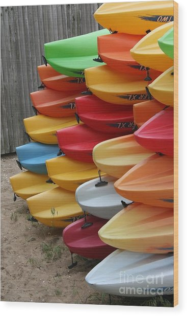Kayaks Wood Print by Kerryn Davis