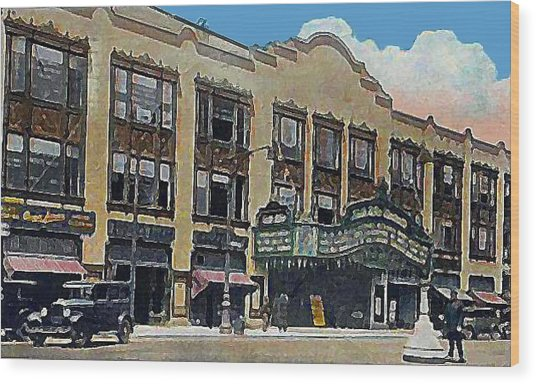 Keith Albee Theatre In Flushing Queens N Y In 1934 Wood Print by Dwight Goss
