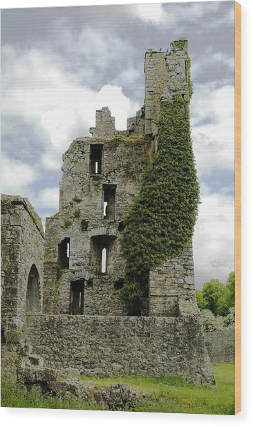 Kells Abbey Tower Wood Print by George Crawford