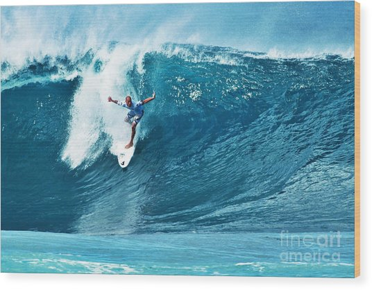 Kelly Slater At Pipeline Masters Contest Wood Print