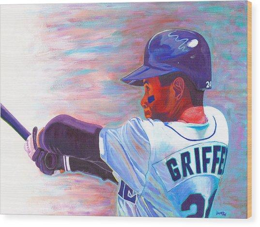 Ken Griffey Jr Wood Print by Jeff Gomez
