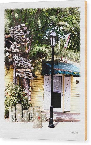 Key West Signs Wood Print by Linda Olsen