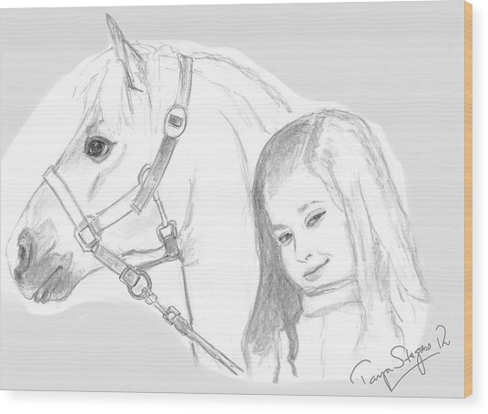 Kiara And Pony Wood Print