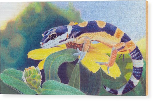 Kiiro The Gecko Wood Print