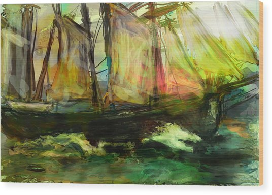 Kind Of Abstract Sea Wood Print