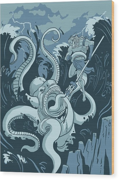 King Neptune Wood Print by Michael Myers