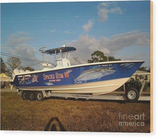 Kingfish Boat Wrap Wood Print