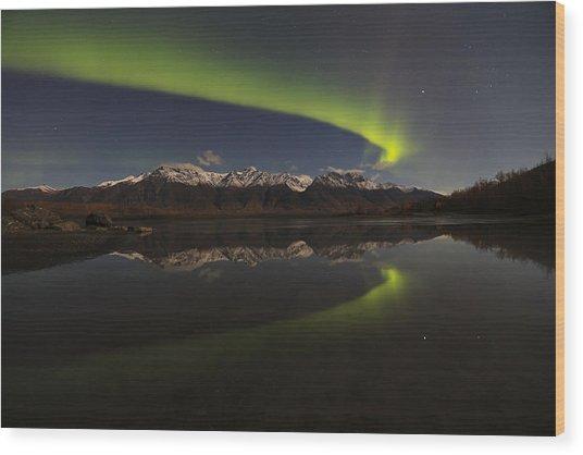 Knik Alaska Northern Lights Wood Print by Sam Amato