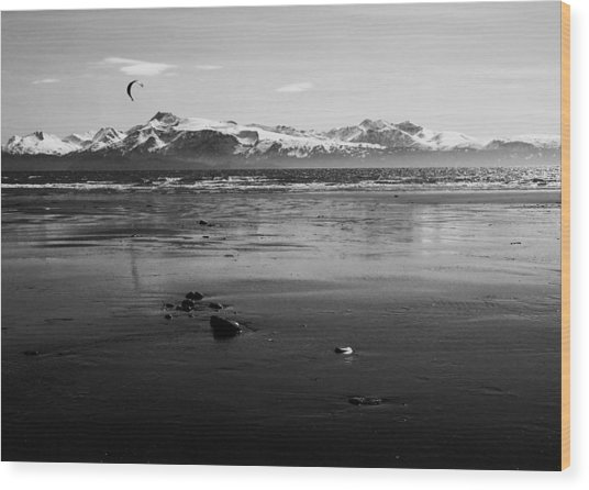 Kite Surfer On An Alaskan Beach Wood Print