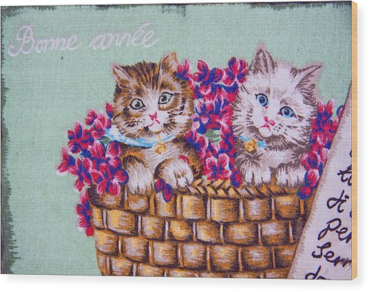 Kittens In A Basket Wood Print by Chet King