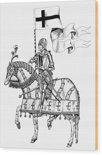 Knight On Parade Wood Print