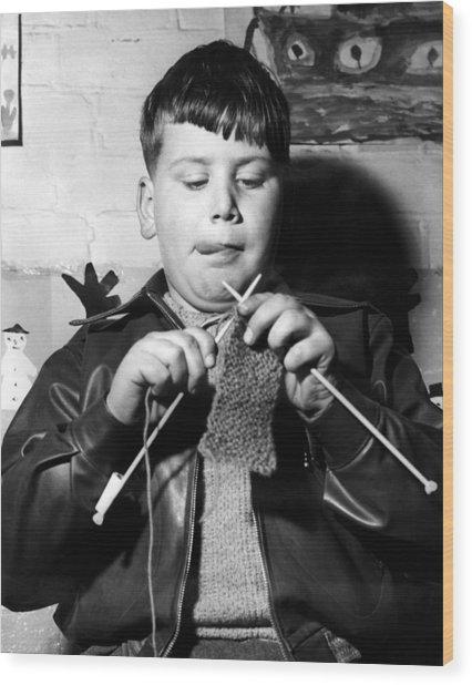 Knit One Drop One Wood Print by Derek Berwin