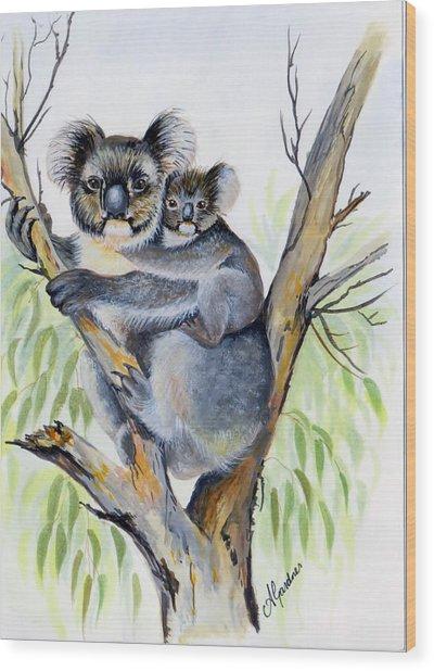 Koala And Baby Wood Print