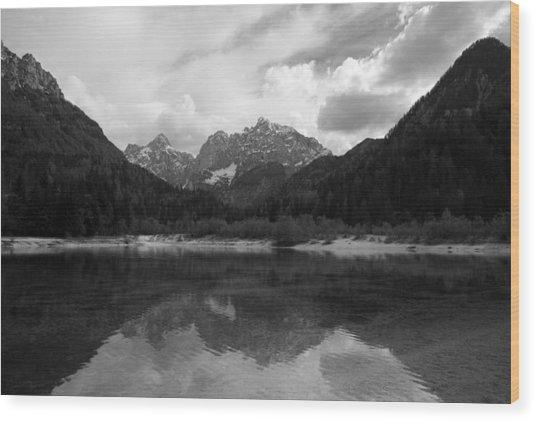 Kranjska Gora In Black And White Wood Print