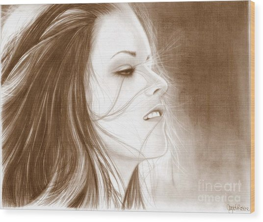 Kristen Stewart - Sepia Wood Print