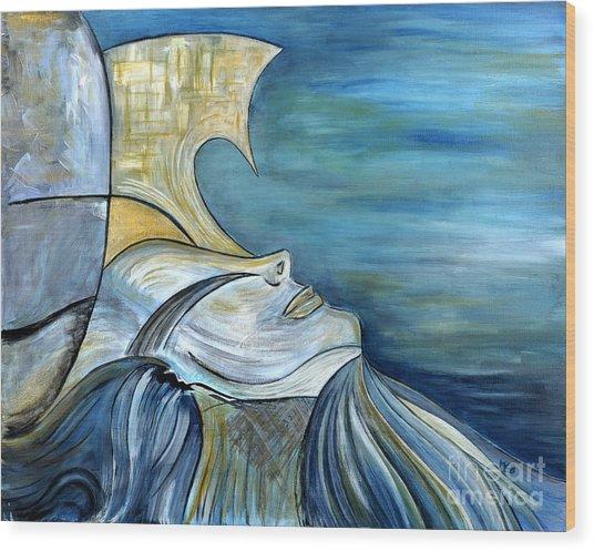 Beautiful Mysterious Blue Woman Portrait La Sirene French For Mermaid Mythic Siren Original Painting Wood Print by Marie Christine Belkadi