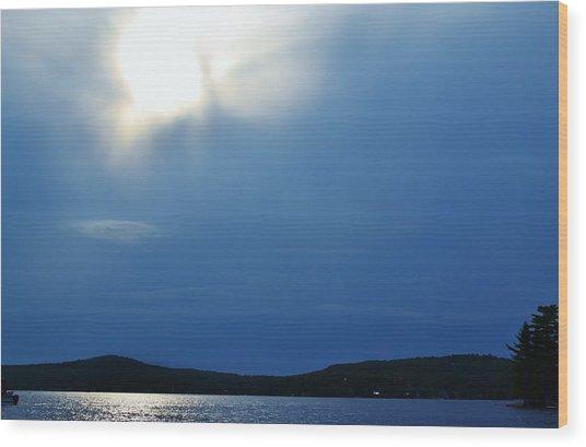 Lac Blue Sky Wood Print by Josee Dube