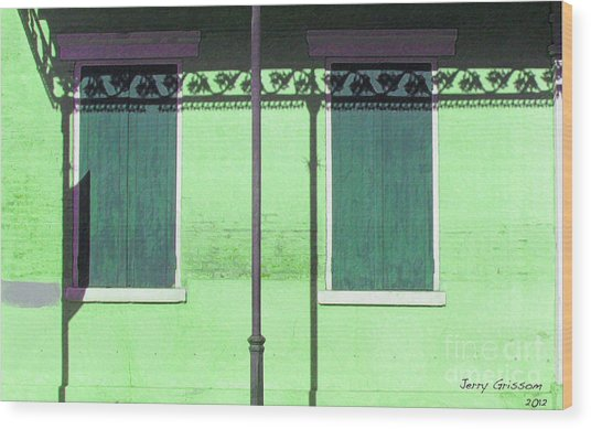 Lace Shadows And Plank Shutters Wood Print by Jerry Grissom
