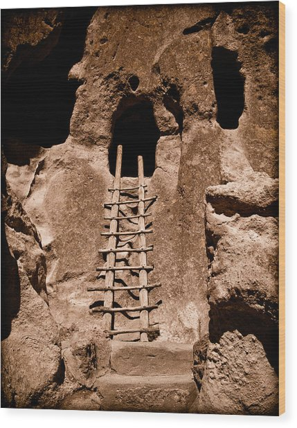Bandelier National Monument, New Mexico - Ladder Face Wood Print