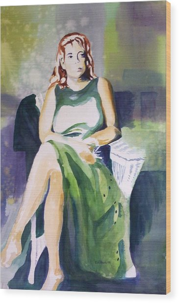 Lady In Green Wood Print
