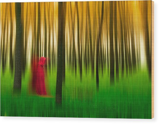 Lady In Red - 3 Wood Print