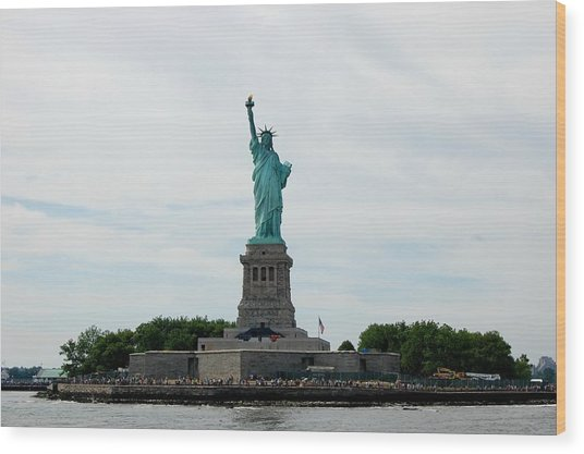 Lady Liberty Wood Print by Beverly Hammond